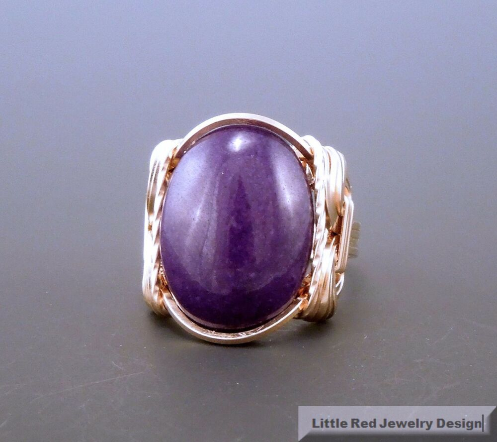 14 K Gold Filled Purple Jade Cabochon Wire Wrapped Ring Ebay