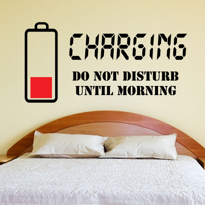 charming bedroom wall art stickers | Charging Do not disturb Wall Sticker Wall Quote Art Decal ...
