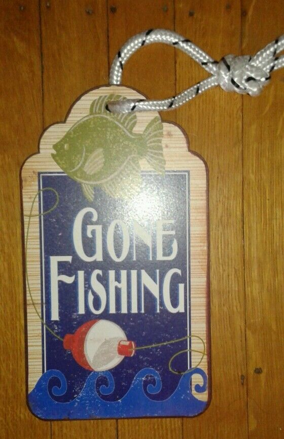 New Vintage Style Metal Wall Sign Gone Fishing Camp Bobber ...