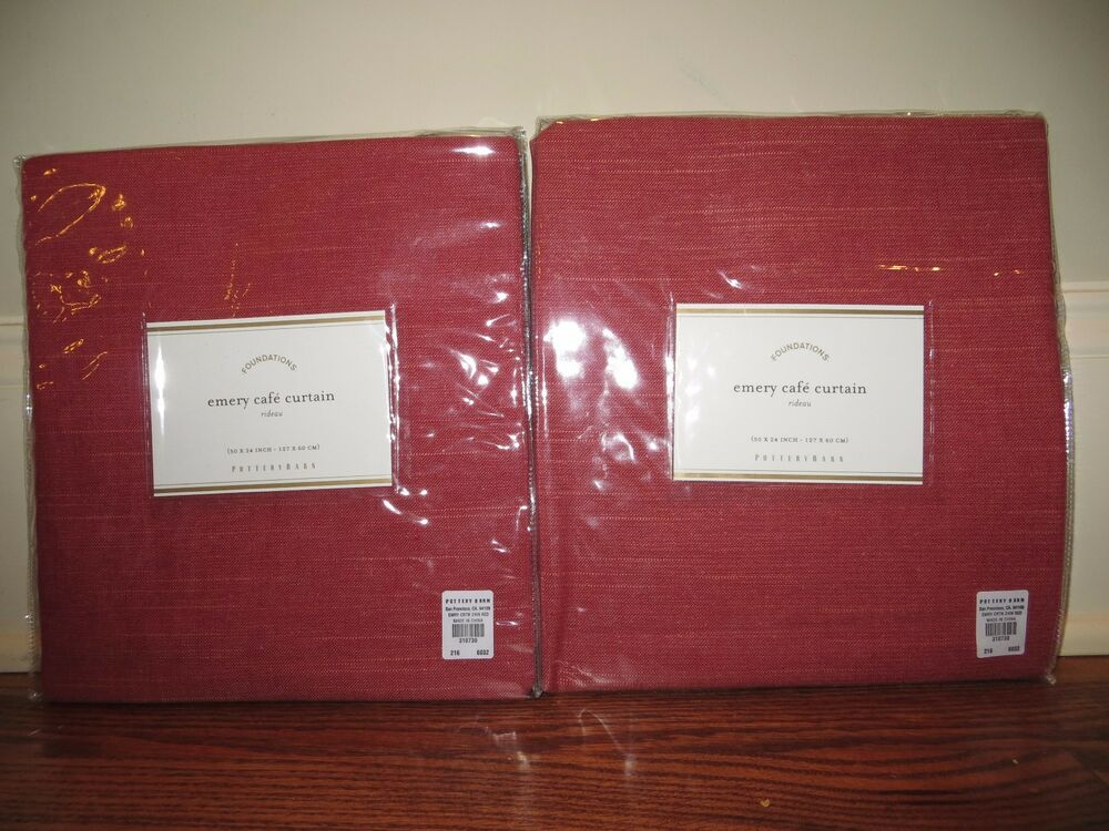 2 Nip Pottery Barn Emery Cafe Curtains 50x24 Red Linen Cotton Qty Available Ebay