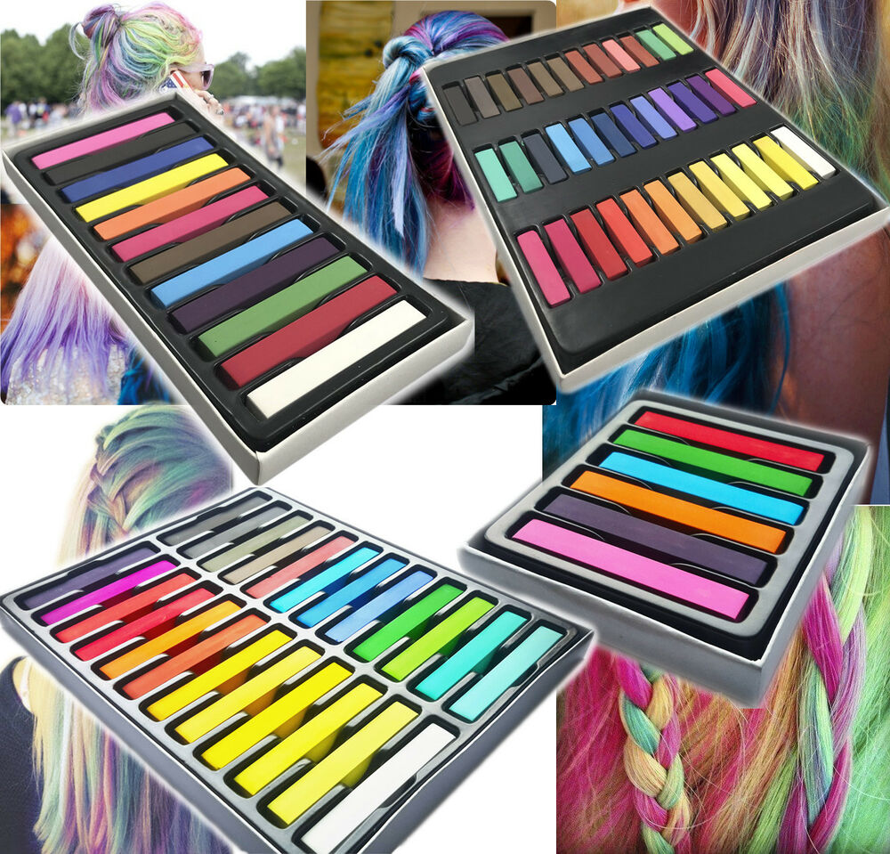haar kreide haarfarb haarkreide f rben haart nung 6 12 24 36 farben hair chalks ebay. Black Bedroom Furniture Sets. Home Design Ideas