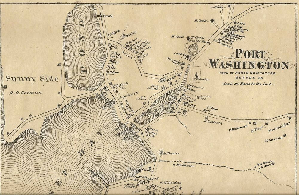 Port washington ny 1873 map with homeowners names shown ebay for Port washington ny