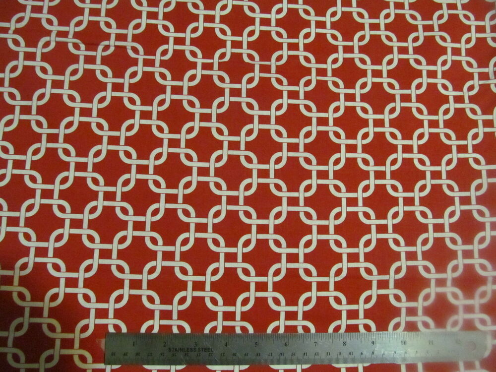 nautical geometric red and white rope links cotton fabric by the yard 295 1 ebay. Black Bedroom Furniture Sets. Home Design Ideas