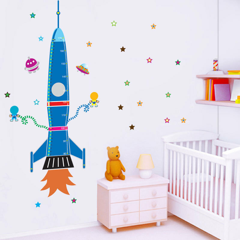 Rocket height chart removable kids nursery wall stickers for Nursery charts