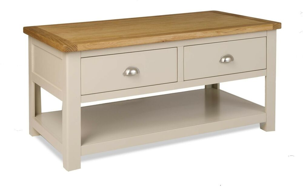 stone colour painted oak large coffee table with drawers