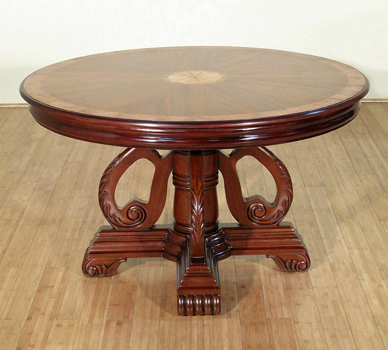 4ft round mahogany walnut dining table w burl ash for 6ft round dining table