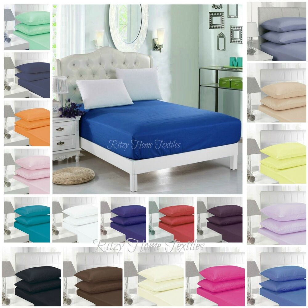fitted sheet bed single double super king size polycotton mattress cover deep ebay. Black Bedroom Furniture Sets. Home Design Ideas