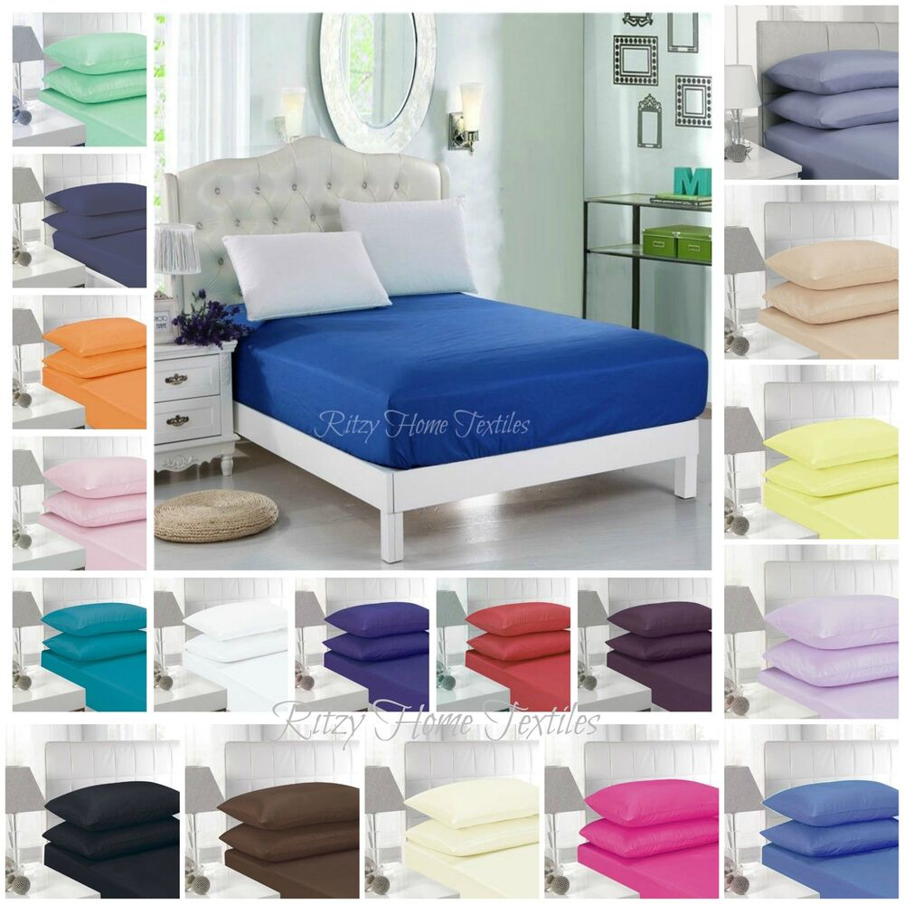 fitted sheet bed single double super king size polycotton. Black Bedroom Furniture Sets. Home Design Ideas