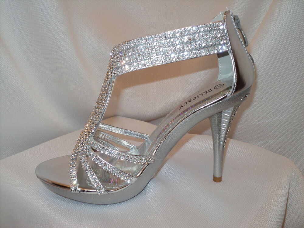 Women's Silver Strappy Prom Wedding Dress Sandal Heel Shoe Rhinestones | eBay