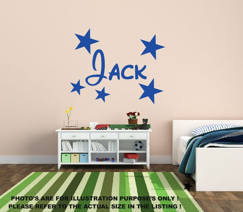 Personalised name stars wall art boys room childrens for Boys room mural