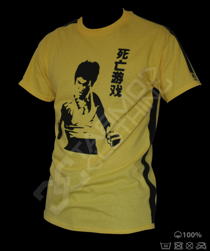 bruce lee t shirt jeet kune do mma yellow training ebay. Black Bedroom Furniture Sets. Home Design Ideas