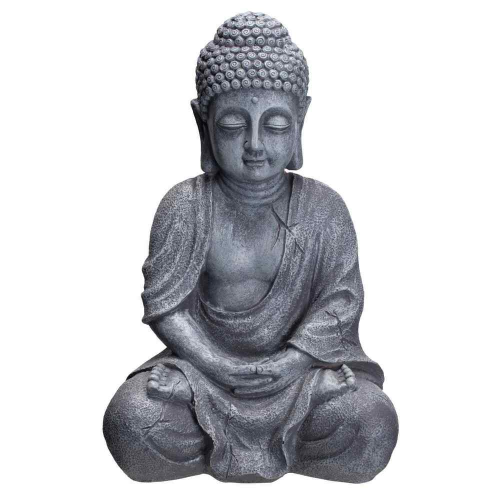 buddha figur 37cm hoch buddha b4018s steingrau buddha statue gro ebay. Black Bedroom Furniture Sets. Home Design Ideas