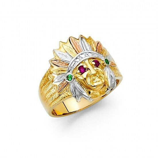 14k tricolor indian chief ring ejmr34315 ebay