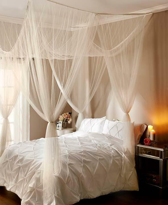 New elegant 4 post bed sheer laced bed canopy curatin for Canopy over bed