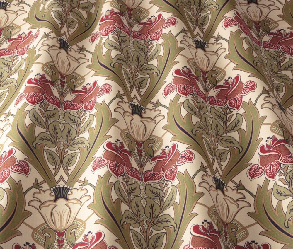 Iliv art deco acanthus cherry william morris style for Art deco style fabric
