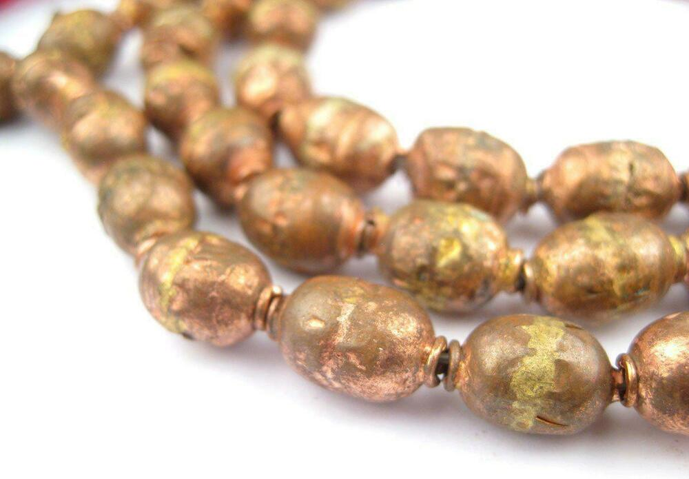 Copper Ethiopian Prayer Beads 8mm African Oval 34 Inch