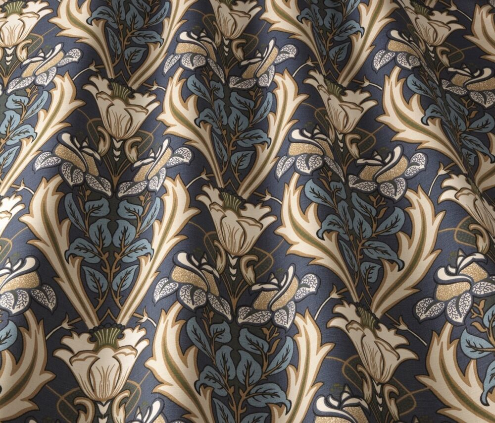 Iliv Art Deco Acanthus Navy (William Morris Style) Curtain