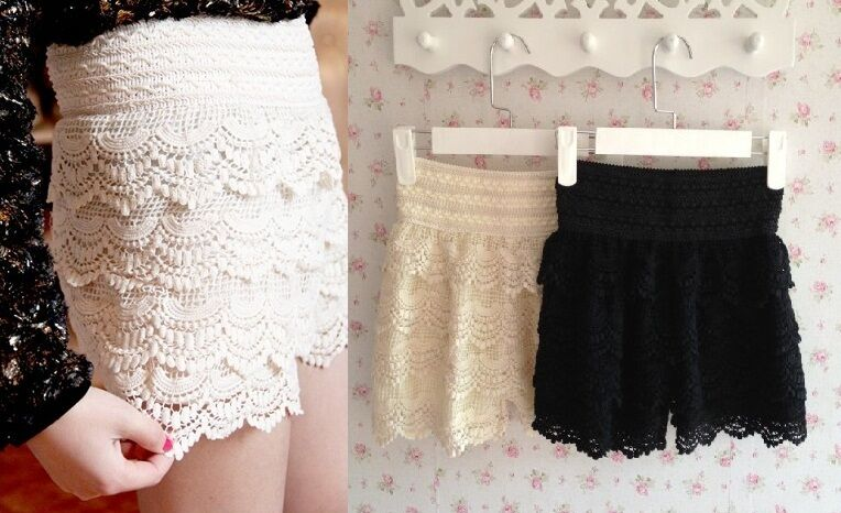 Korean Fashion Womens Sweet Cute Crochet Tiered Lace ... |Black Tiered Lace Shorts