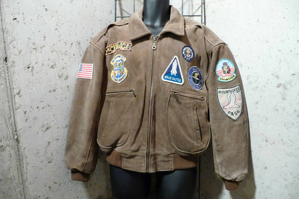VINTAGE FLIGHT JACKET GENUINE LEATHER WITH PATCHES BROWN ...