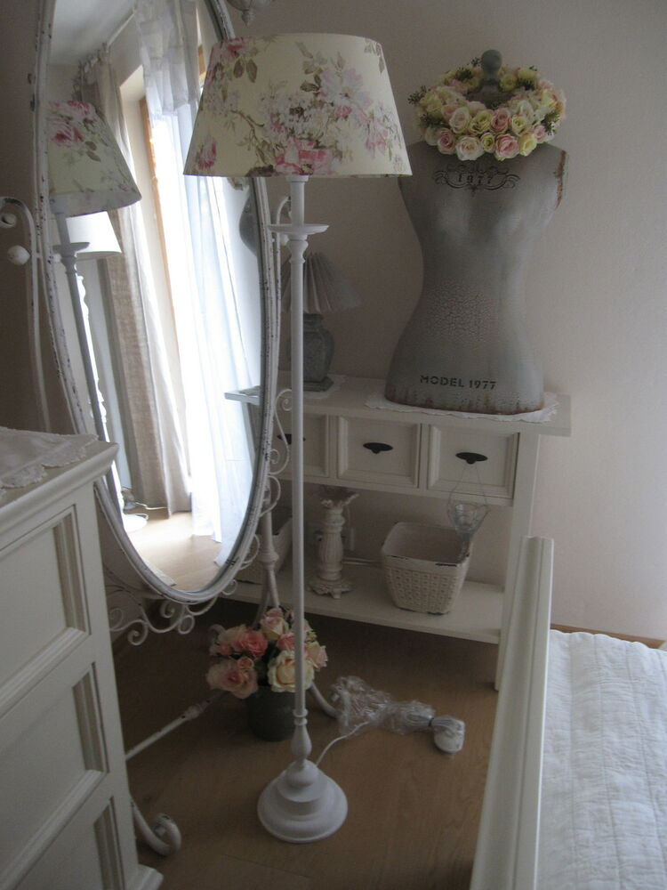 sch nste romantische stehlampe stehleuchte boden shabby rosenschirm landhaus ebay. Black Bedroom Furniture Sets. Home Design Ideas