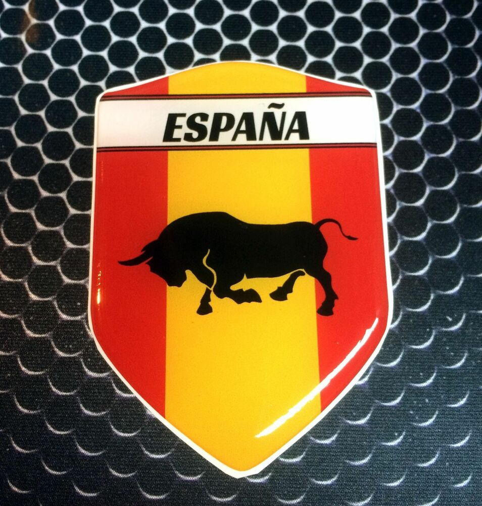 España Spain Proud Shield Flag Domed Decal Emblem Car