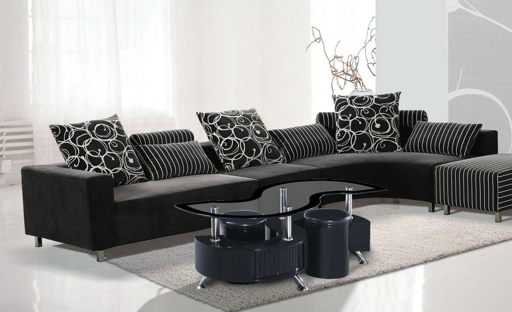 S Shape Black Border Glossy Coffee Table With 2 Storage