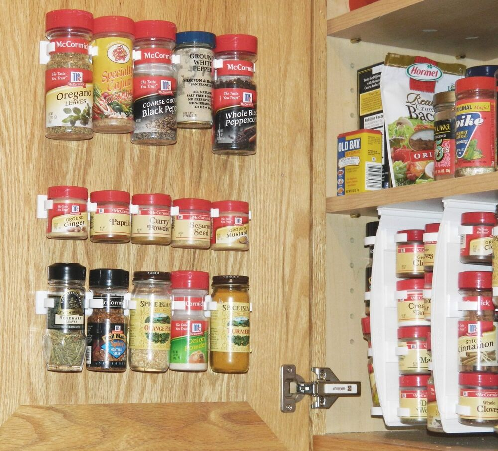 Kitchen Cabinet Spice Rack Organizer: Kitchen RV Spice Gripper Clip Strip 20 Jar Rack Storage