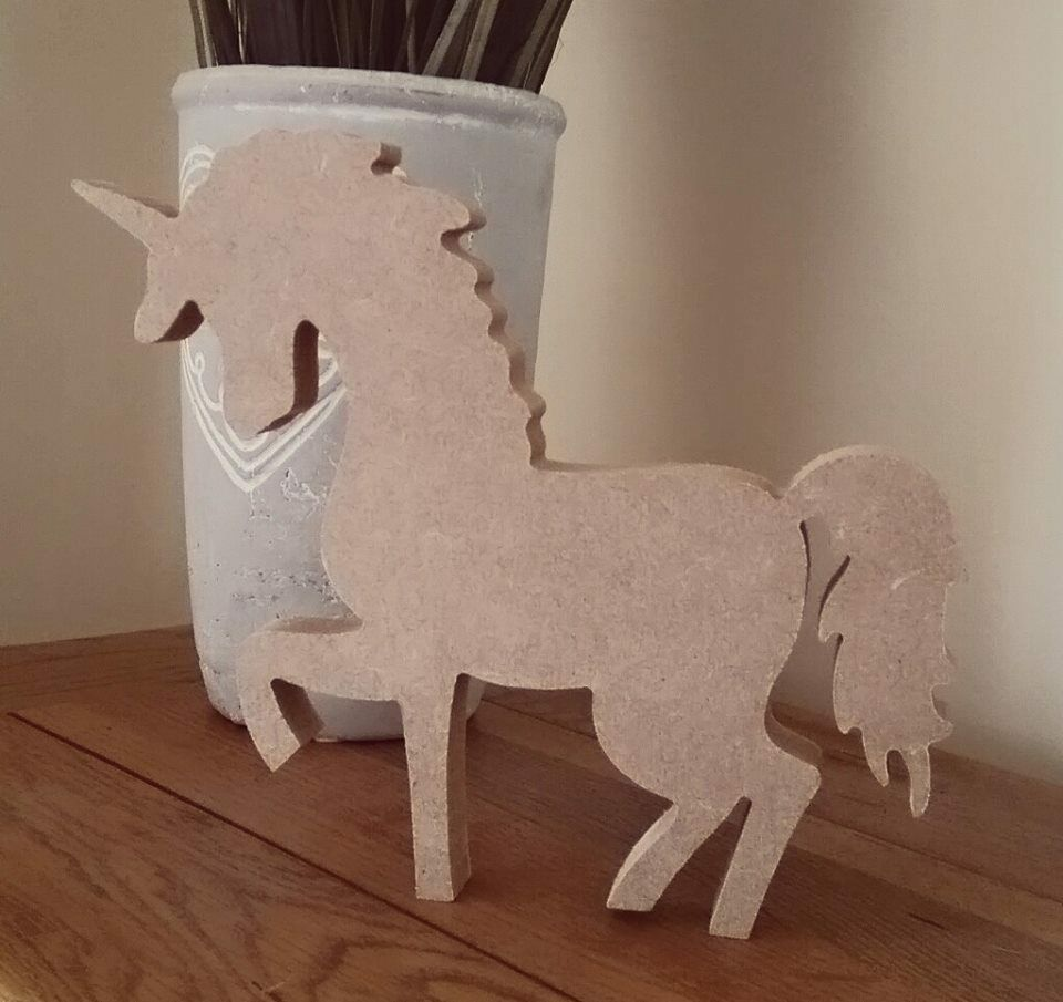 Free standing craft shape mdf wooden unicorn 2 sizes for Crafts that sell on ebay