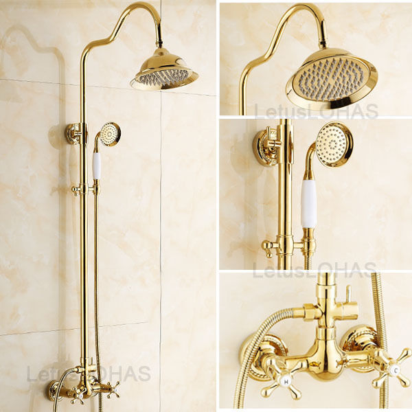 Gold polished 8 bathroom wall mount rainfall shower faucet set mixer tap 15021 ebay for Polished gold bathroom faucets