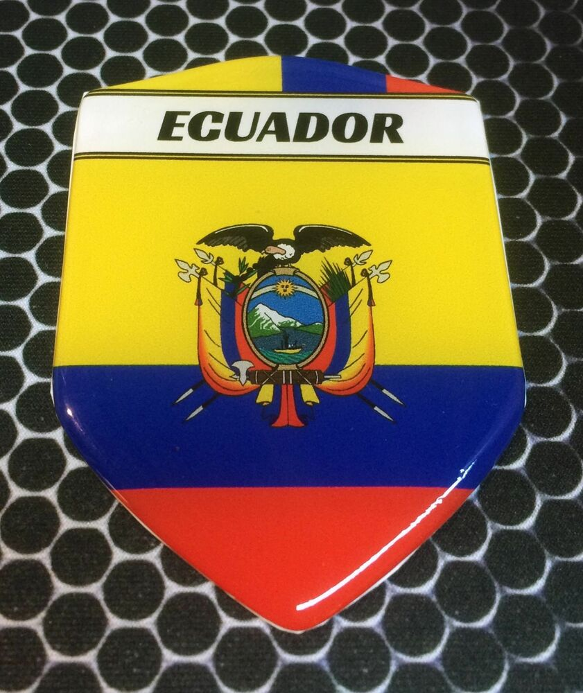 Ecuador Proud Shield Flag Domed Decal Emblem Sticker Car