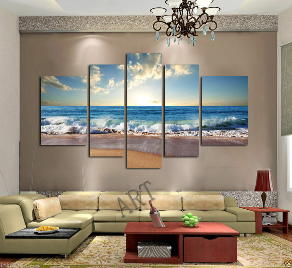 Not framed hd canvas print wall art home decor pictures blue wave beach ocean ebay - Wall paintings for home decoration ...