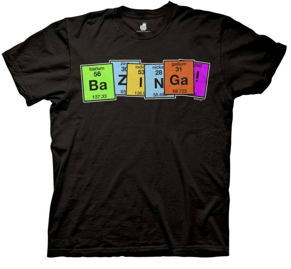 the big bang theory bazinga periodic table adult black t. Black Bedroom Furniture Sets. Home Design Ideas