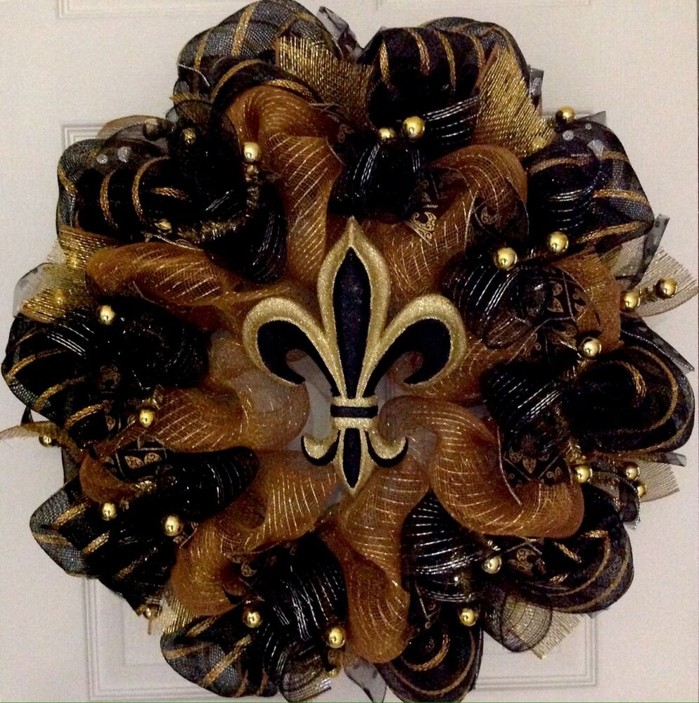 elegant fleur de lis black and gold mardi gras deco mesh wreath ebay. Black Bedroom Furniture Sets. Home Design Ideas