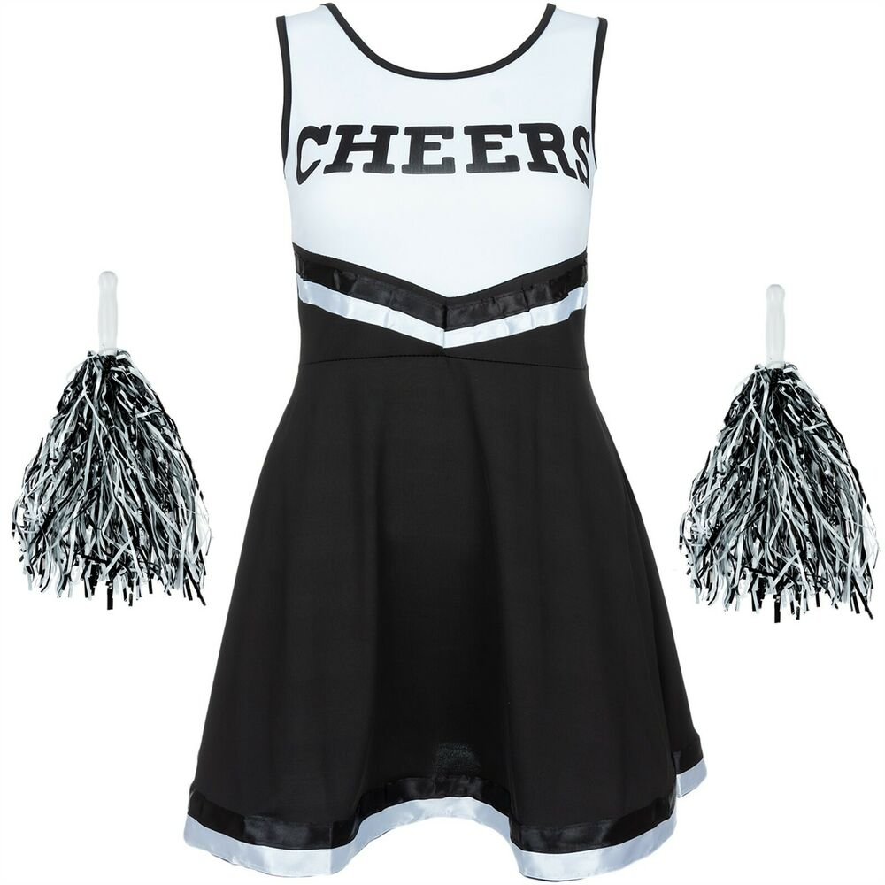 BLACK HALLOWEEN CHEERLEADER FANCY DRESS HIGH SCHOOL UNIFORM COSTUME + POM POMS | eBay
