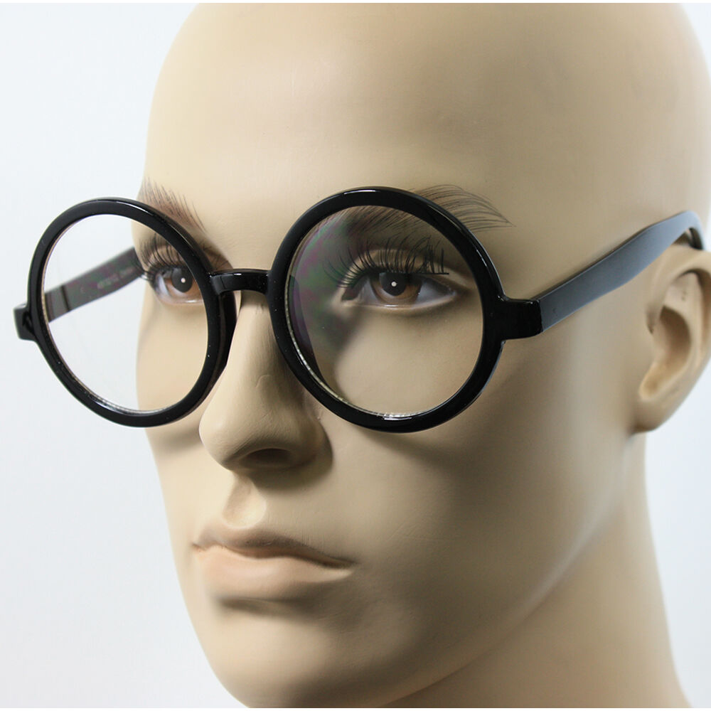 Black Frame Fake Glasses : Large Oversized Big Round Clear Lens Round Circle Eye ...