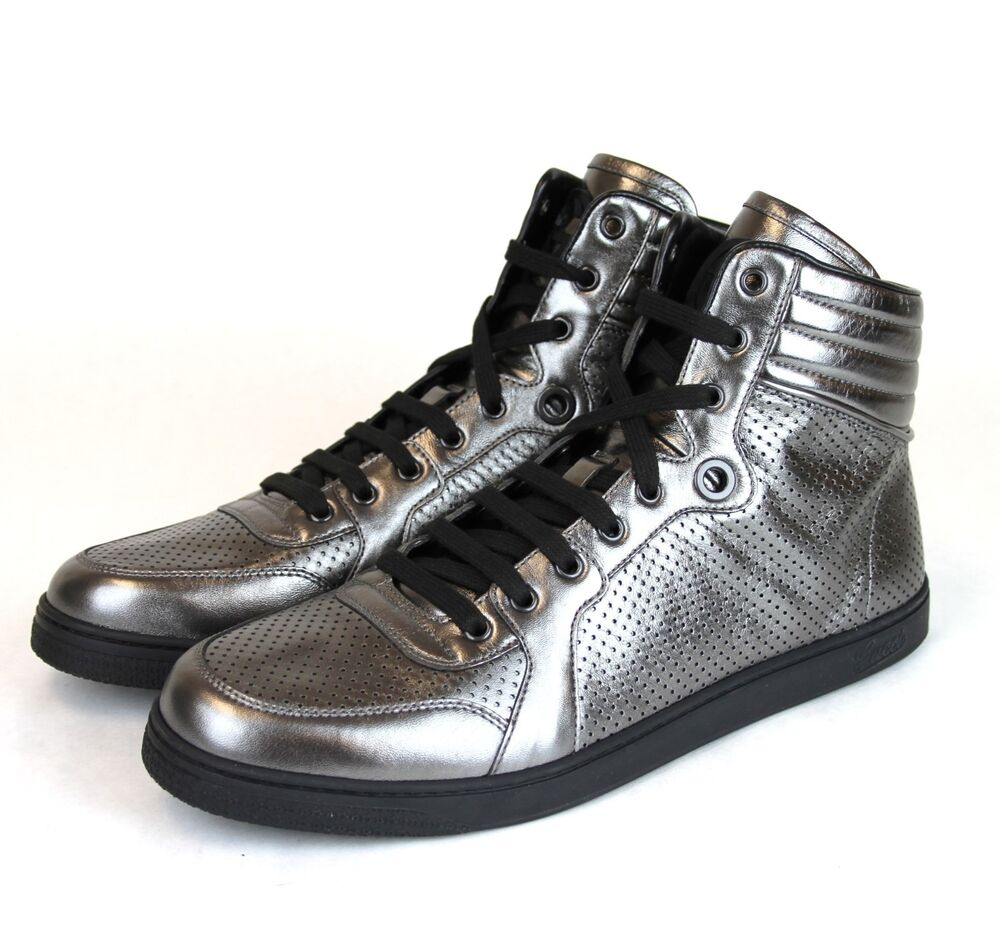 $595 New Auth Gucci CODA Leather High-Top Sneaker Metallic ...