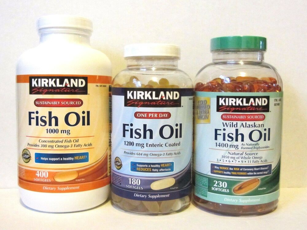 Kirkland signature fish oil 1000mg 1200mg enteric coated for Fish oil 1400 mg