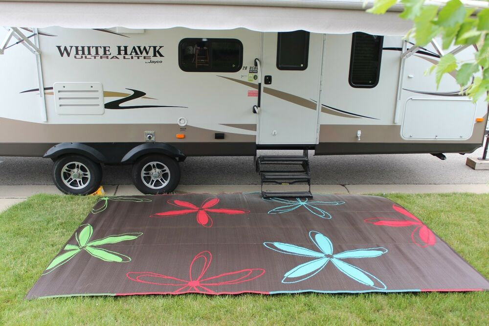 RV Patio Rug Indoor Outdoor Camping Mat Colorful Pattern