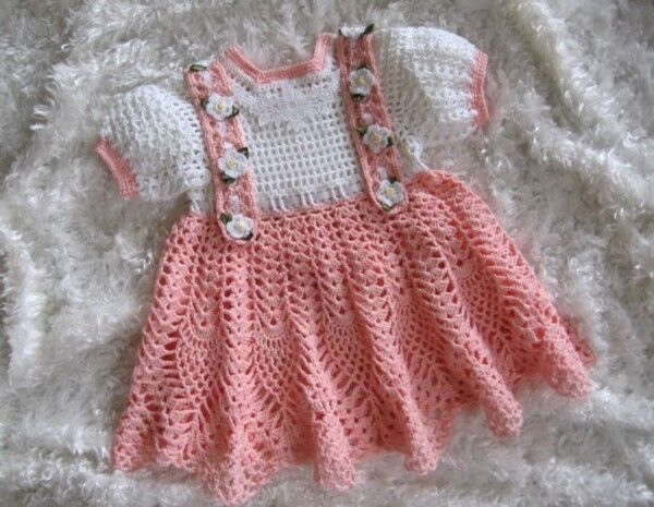"CROCHET PATTERN for""PEACHES & CREAM"" Baby Dress by REBECCA"