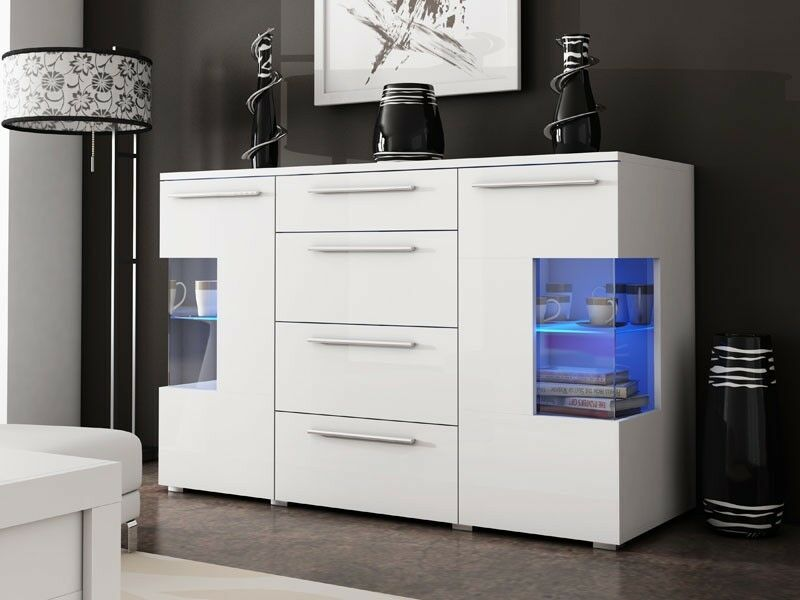 chest of drawers high gloss glass shelves with led dresser sideboard
