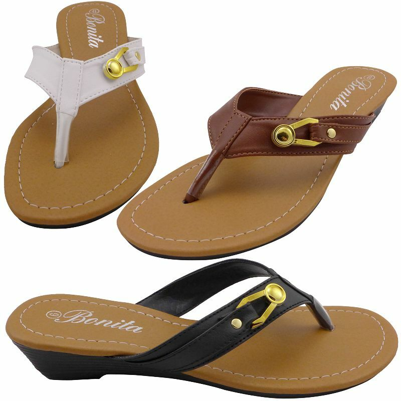 Womens Sandals Flip Flops Thong Shoes Low Wedge Heels Size ...