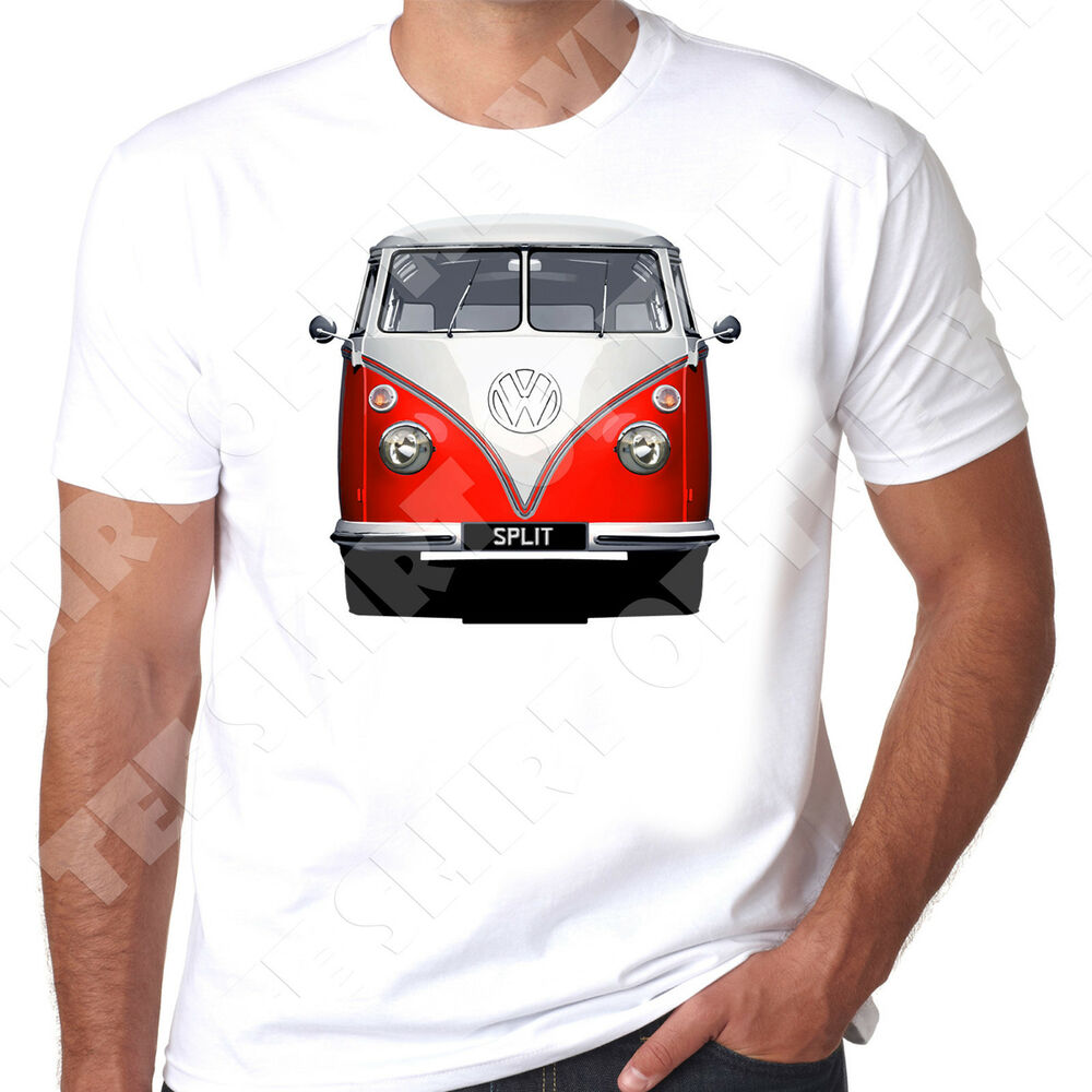 vw camper splitscreen choice of bus colour and personalised reg option t shirt ebay. Black Bedroom Furniture Sets. Home Design Ideas