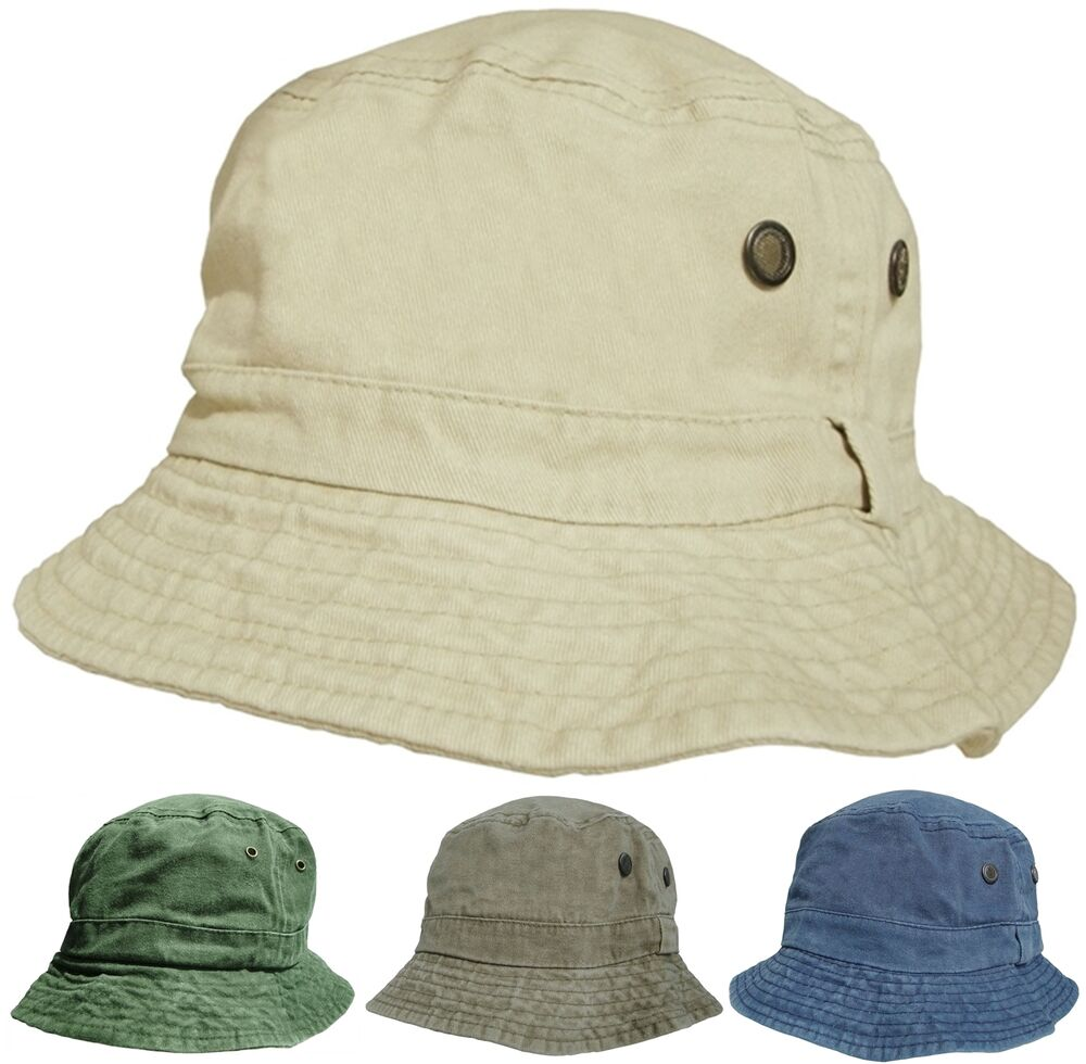 Mens or Womens 100% Cotton Bucket Hats Pre Washed Faded ...