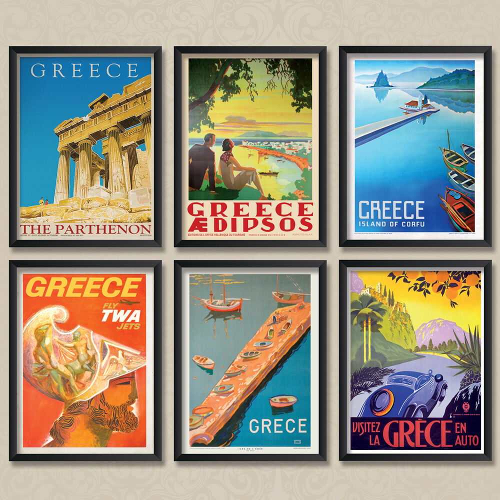 Vintage Travel Trailers: A4 Vintage Travel Posters: Greece Parthenon Corfu Greek
