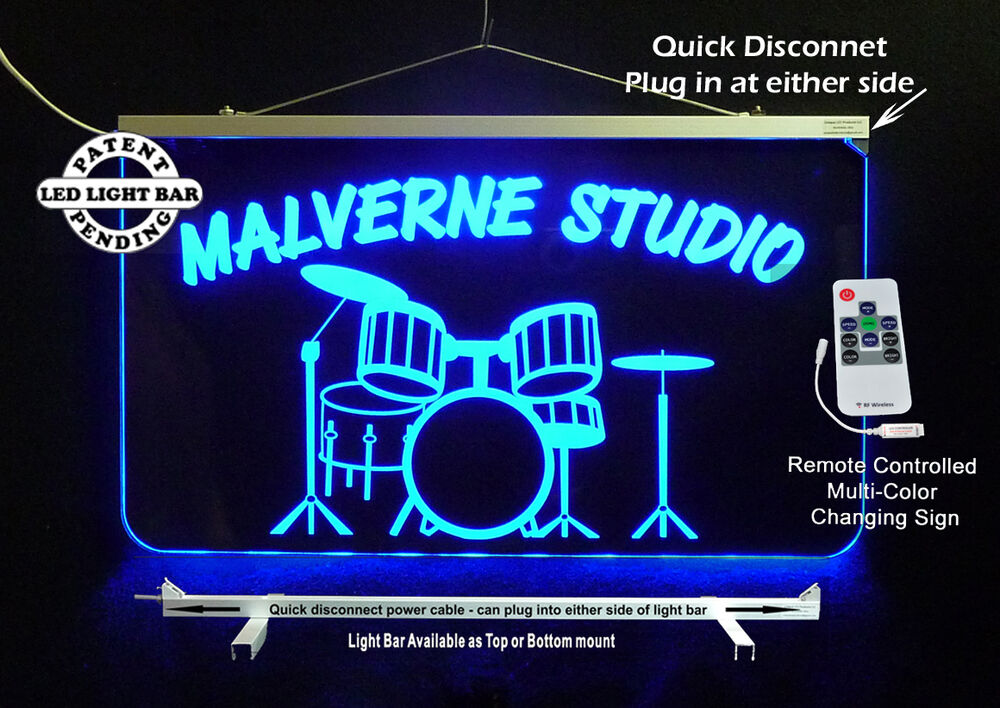 Man Cave Led Signs : Personalized led sign drum set man cave band