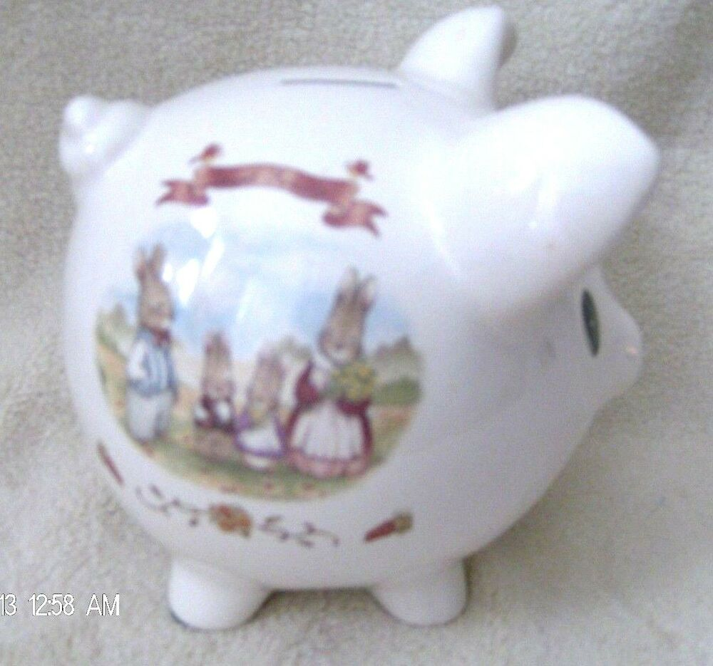 Baby Gift Piggy Bank : Ceramic baby gift piggy bank sweet family bunny