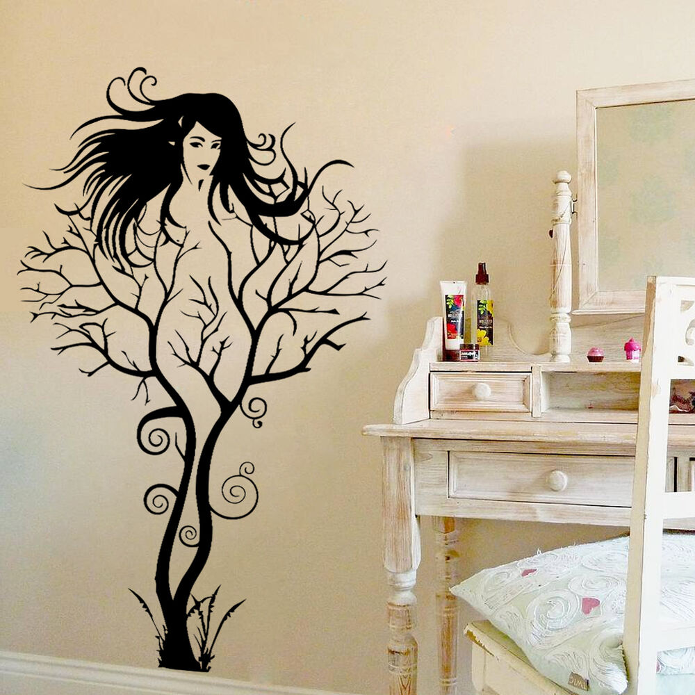 Creative sexy girl tree removable wall sticker decal home for Creative mural art