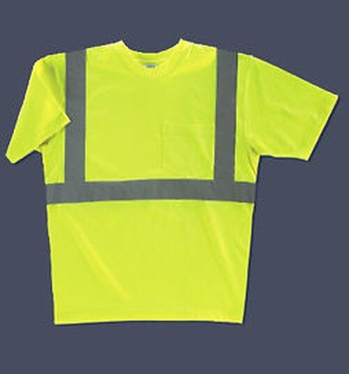 Mens hi visibility tee shirt s 5xlt w reflective tape ebay for Hi vis shirts with reflective tape