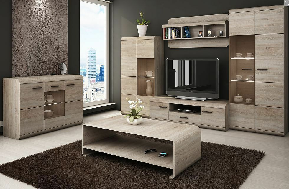 Tv Wall Unit Lucano Living Room Different Parts Leds Free