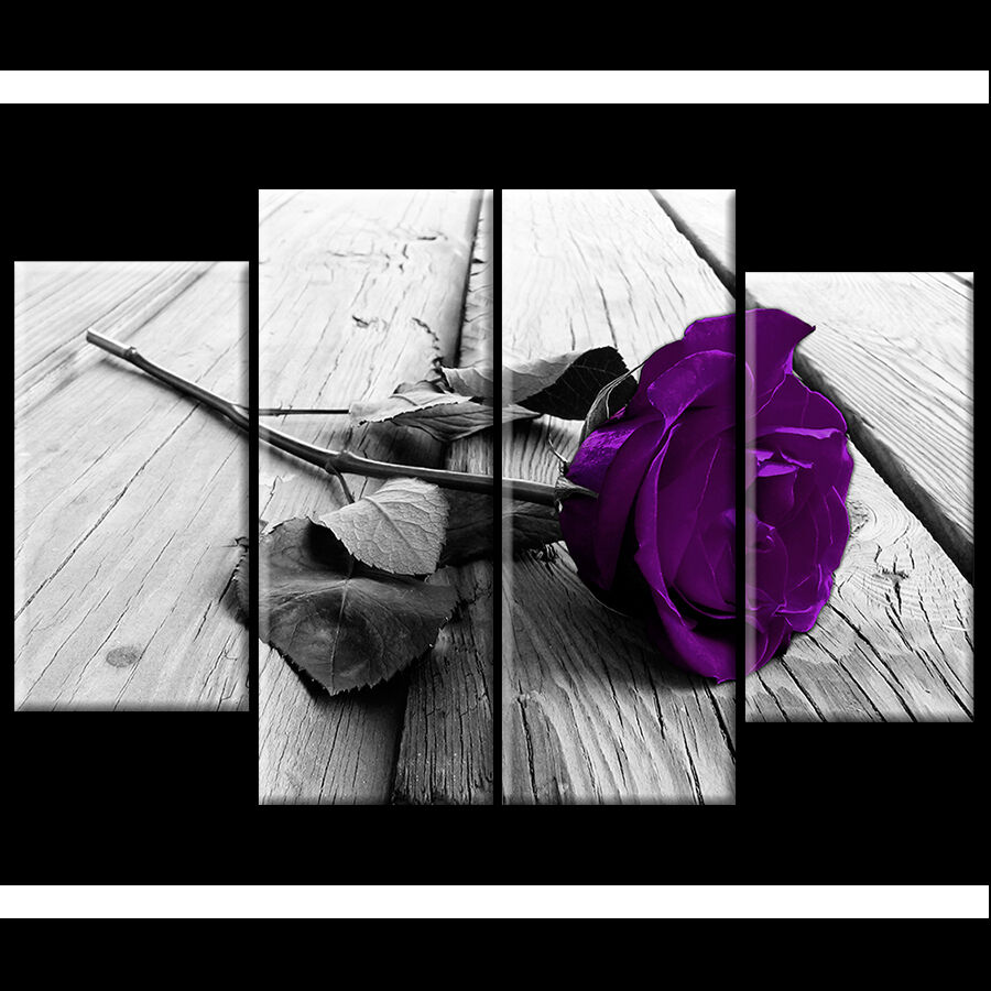 plum purple rose floral canvas black white wall art picture wide xl flower gift ebay. Black Bedroom Furniture Sets. Home Design Ideas